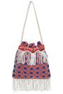 STAUD Lance beaded fringed canvas pouch