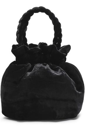 STAUD Braid-trimmed velvet clutch