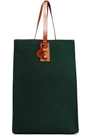 M MISSONI Leather-trimmed two-tone wool-blend felt tote