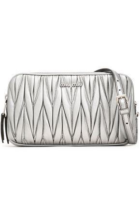 MIU MIU Matelassé metallic leather shoulder bag