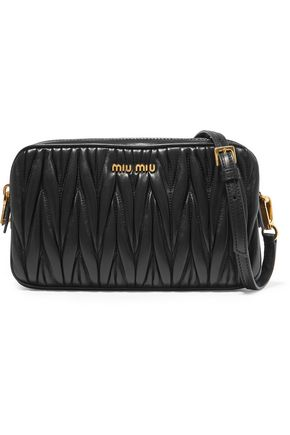 MIU MIU Matelassé metallic leather shoulder bag