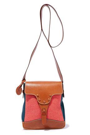 M MISSONI Color-block felt-paneled leather shoulder bag