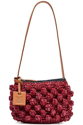 M MISSONI Leather-trimmed crocheted cotton-blend and raffia shoulder bag