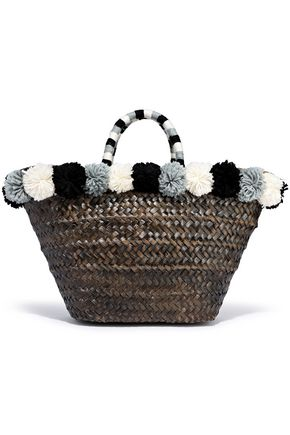 KAYU Hail pompom-embellished woven straw tote