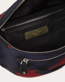CAMOUFLAGE NYLON BELT BAG WITH VLTN RIBBON STRAP