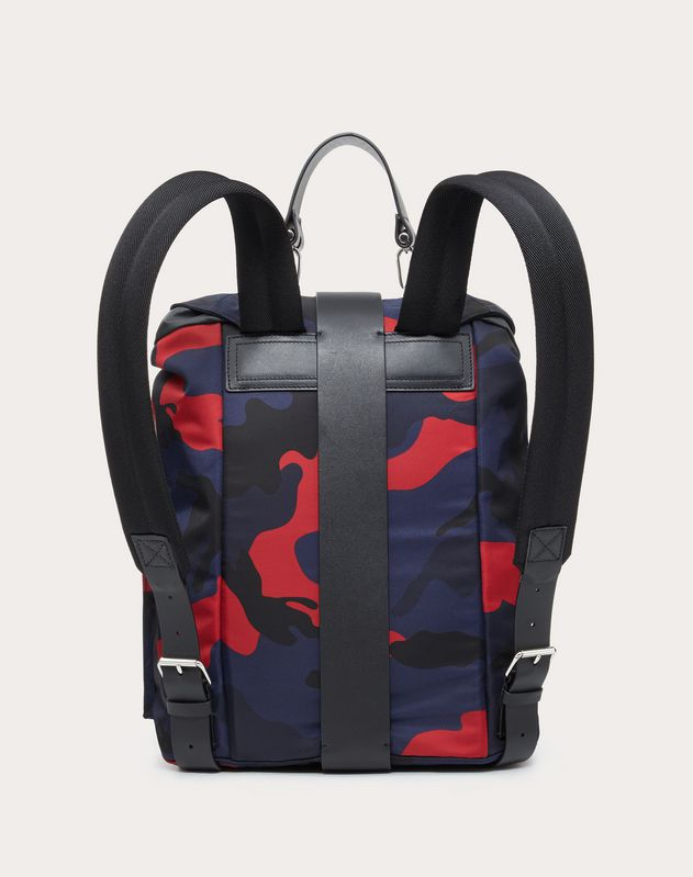 CAMOUFLAGE NYLON BACKPACK WITH LEATHER DETAIL