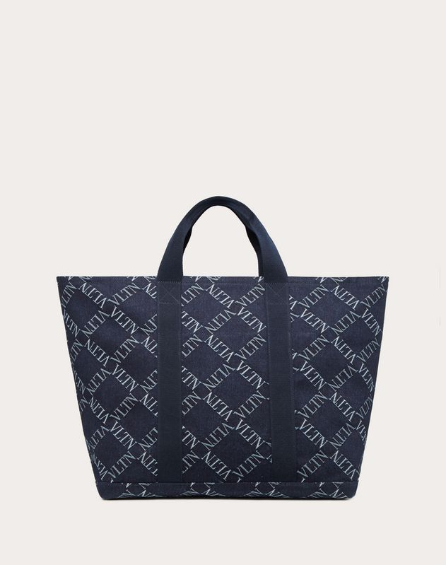 VRING LARGE DENIM TOTE WITH VLTN GRID LOGO