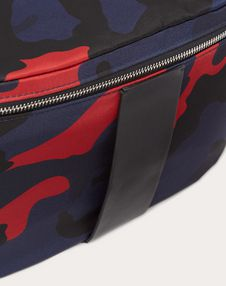 CAMOUFLAGE NYLON BELT BAG WITH LEATHER DETAIL