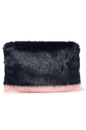SHRIMPS Two-tone faux fur clutch