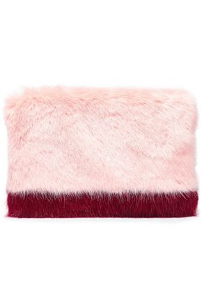 SHRIMPS Two-tone faux fur clutch