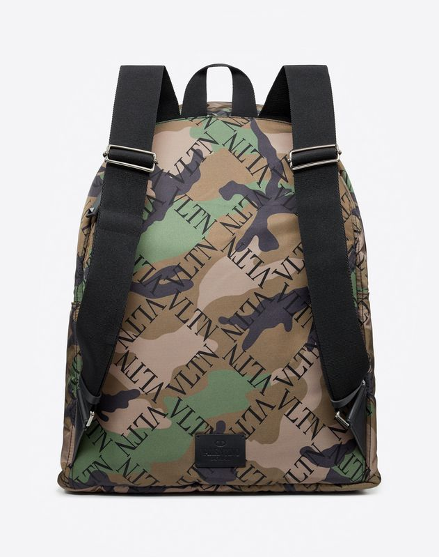 LARGE NYLON VLTN GRID CAMOUFLAGE BACKPACK
