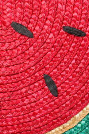 ALICE + OLIVIA Leather and raffia tote