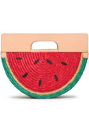 ALICE + OLIVIA Leather and raffia tote