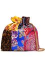 ALICE + OLIVIA Patchwork-effect jacquard and leopard-print calf hair clutch