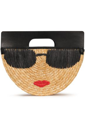ALICE + OLIVIA Embroidered leather, raffia and straw tote