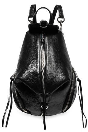 REBECCA MINKOFF Julian mini covertible glossed textured-leather backpack