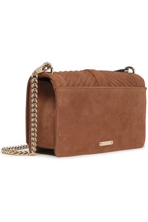 REBECCA MINKOFF Love chain-trimmed quilted textured-nubuck shoulder bag