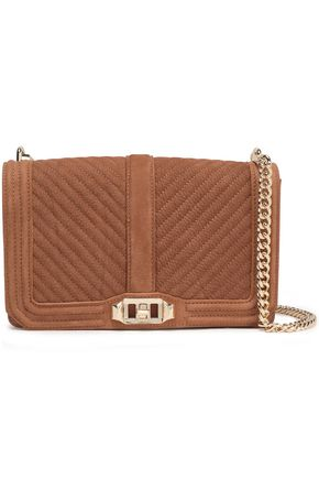 REBECCA MINKOFF Love chain-trimmed quilted textured-nubuck shoulder bag