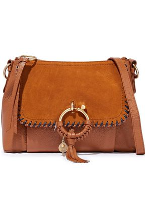 SEE BY CHLOÉ Joan small suede-paneled pebbled-leather shoulder bag