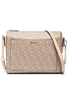 DKNY Printed textured faux leather shoulder bag