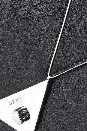 DKNY Silver-embellished textured leather shoulder bag
