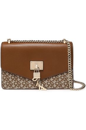DKNY Embellished printed faux leather shoulder bag