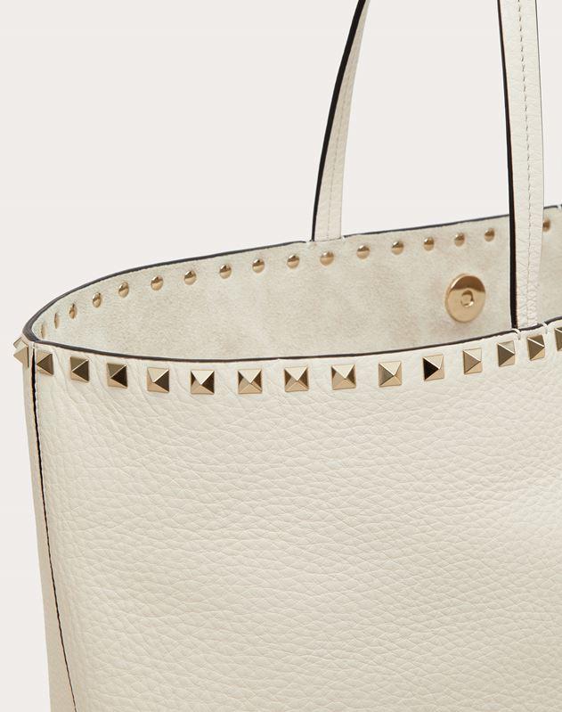 Large grain calfskin leather Rockstud shopping bag