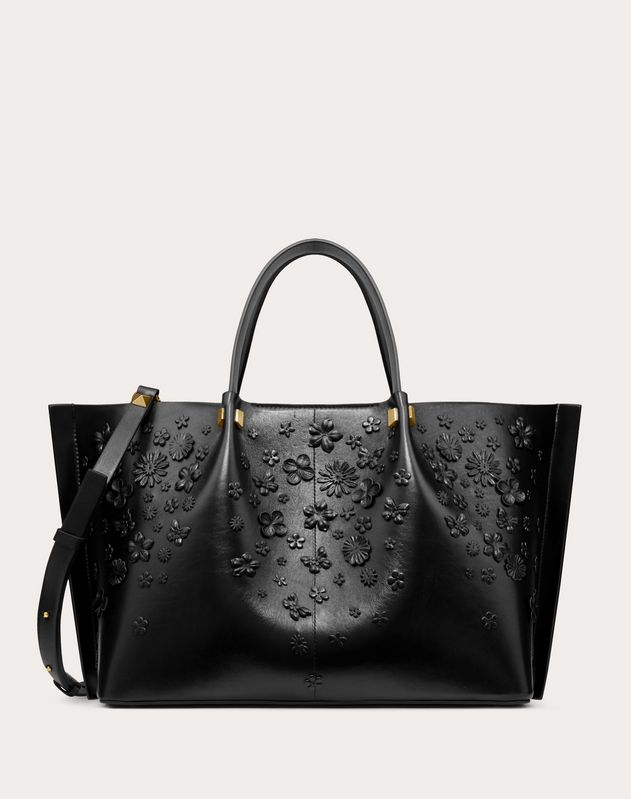 Medium VLOGO Escape Shopper With Flower Embellishments