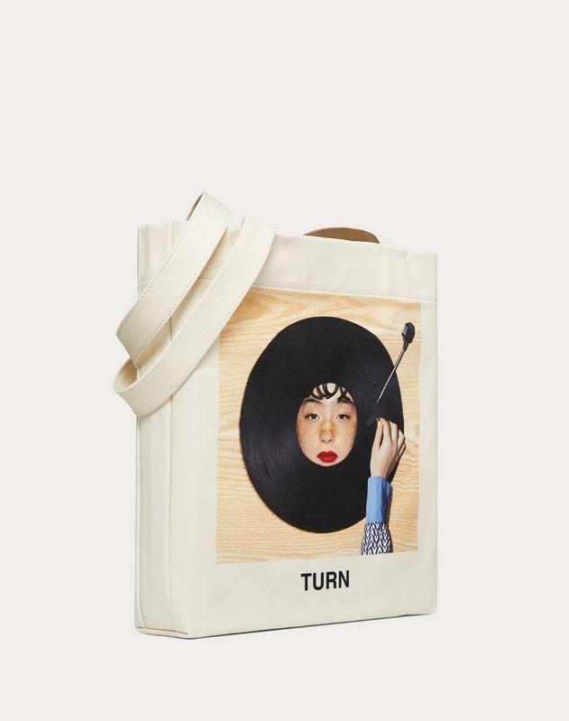 """Borsa Shopping con Stampa """"Turn"""" collaborazione con Izumi Miyazaki"""