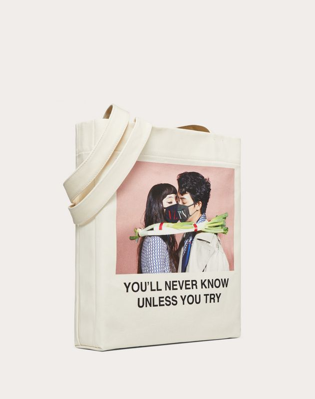 "Shopper with ""You'll never know unless you try"" print in collaboration with Izumi Miyazaki"