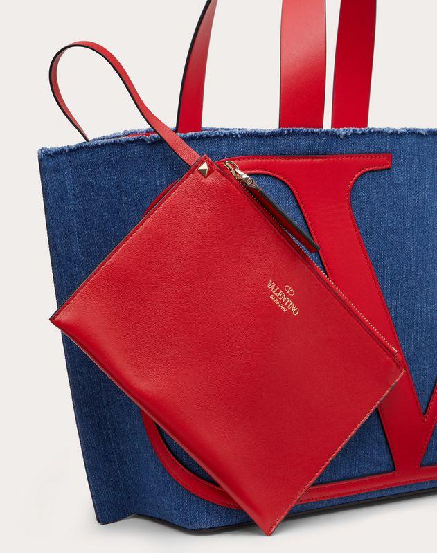 Borsa Shopping Piccola VLOGO Beach Bag in Denim