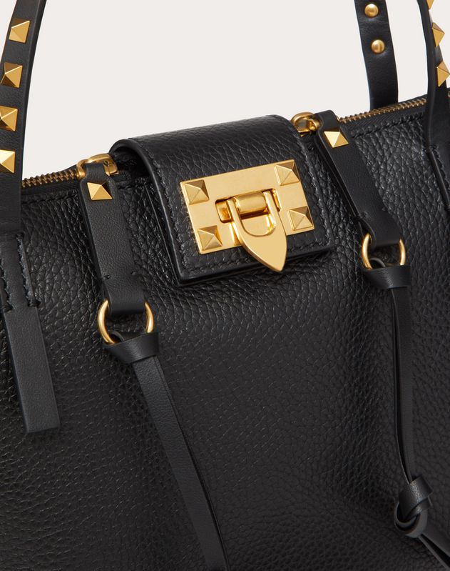 Small Rockstud Hype Grainy Calfskin Tote