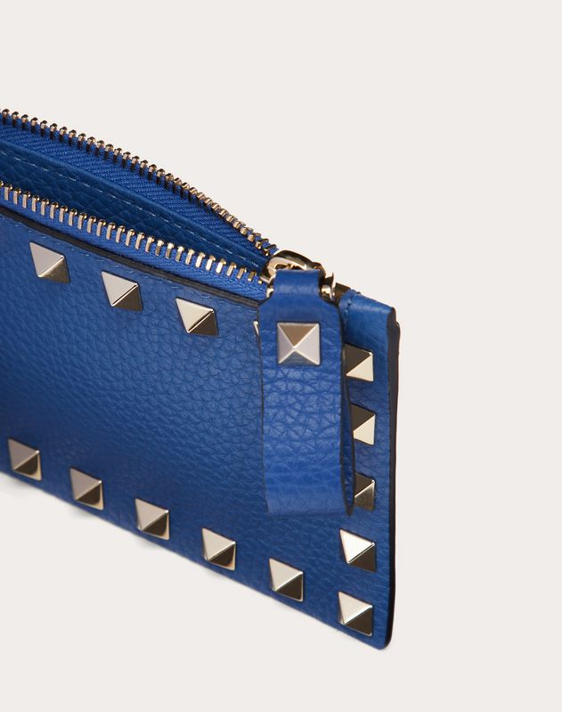 Rockstud Grainy Calfskin Coin Purse and Cardholder