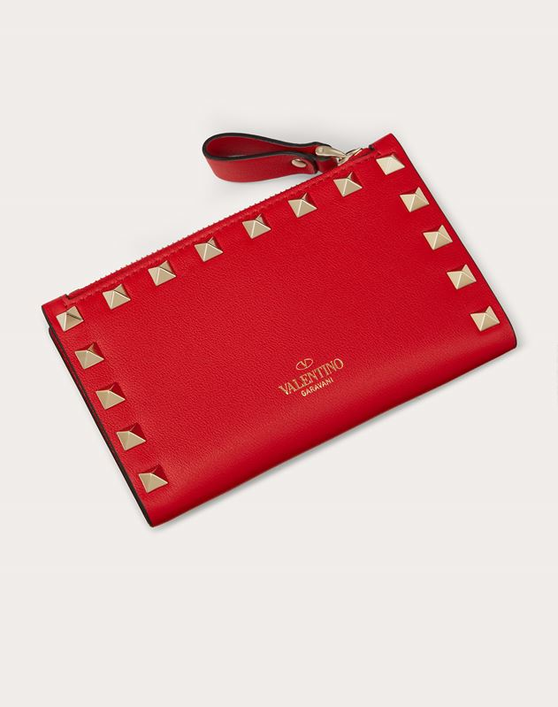 Rockstud Calfskin Coin Purse and Cardholder