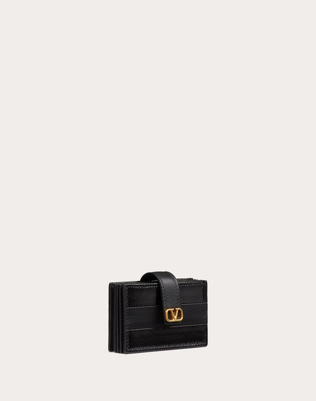 Diary Lines Gusset Wallet in Calfskin and Karung