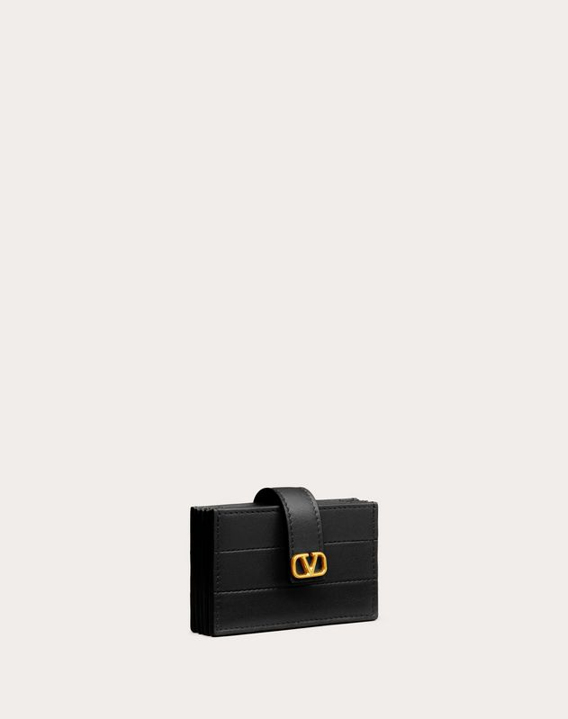 Diary Lines Gusset Wallet in Calfskin