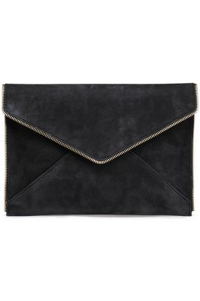 REBECCA MINKOFF Leo zip-embellished textured-suede clutch