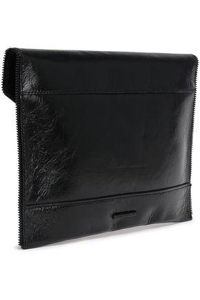 REBECCA MINKOFF Leo zip-embellished crinkled glossed-leather clutch