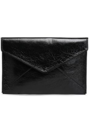 REBECCA MINKOFF Leo zip-embellished crinkled glossed-leather clutch