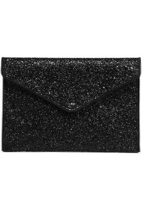 REBECCA MINKOFF Leo zip-embellished glittered faux leather clutch
