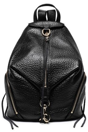 REBECCA MINKOFF Julian convertible glossed pebbled-leather backpack