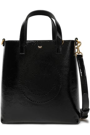 ANYA HINDMARCH Perforated Wink crinkled patent-leather tote