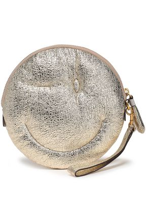 ANYA HINDMARCH Chubby Wink metallic cracked-leather clutch