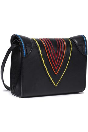 ELENA GHISELLINI Felina embroidered textured-leather shoulder bag