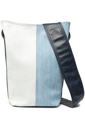 ELENA GHISELLINI Paneled leather and denim bucket bag