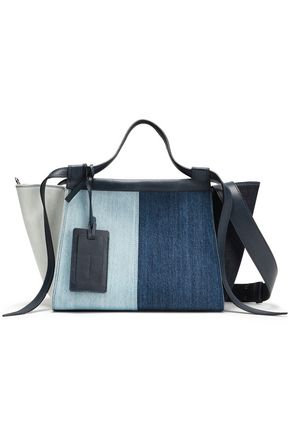 ELENA GHISELLINI Leather-trimmed color-block denim tote