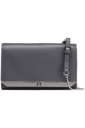 HALSTON HERITAGE Textured-leather clutch