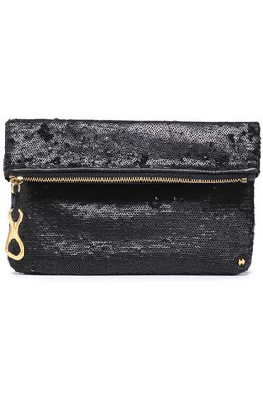 HALSTON HERITAGE Sequined leather clutch
