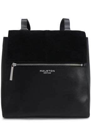 HALSTON HERITAGE Suede-trimmed leather backpack