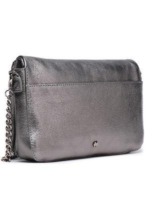 HALSTON HERITAGE Pleated metallic textured-leather shoulder bag
